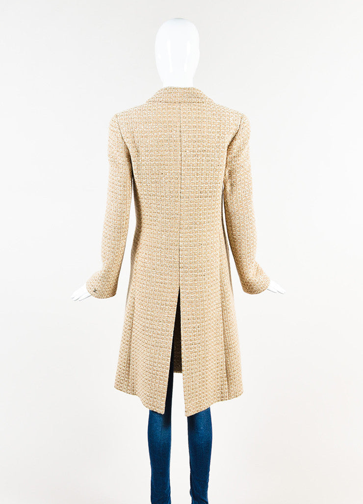 Chanel Tan and Cream Wool Blend Woven Patterned Sequin Coat Backview