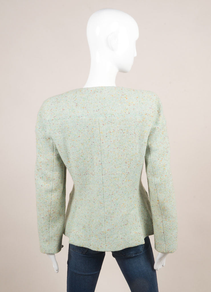 "Chanel Mint Green Wool Tweed ""CC"" Button Jacket Backview"