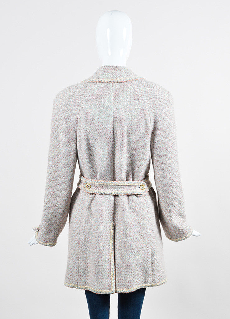 Pink, Blue, and Cream Chanel Tweed Knit Trim 'CC' Button Coat Backview