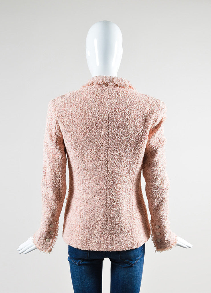 Pink Chanel Cotton and Wool Tweed 'CC' Button Fringe Trim Blazer Jacket Backview