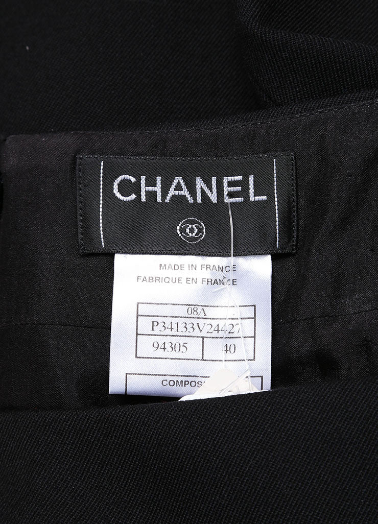 Chanel New With Tags Black Wool Pencil Skirt Tag