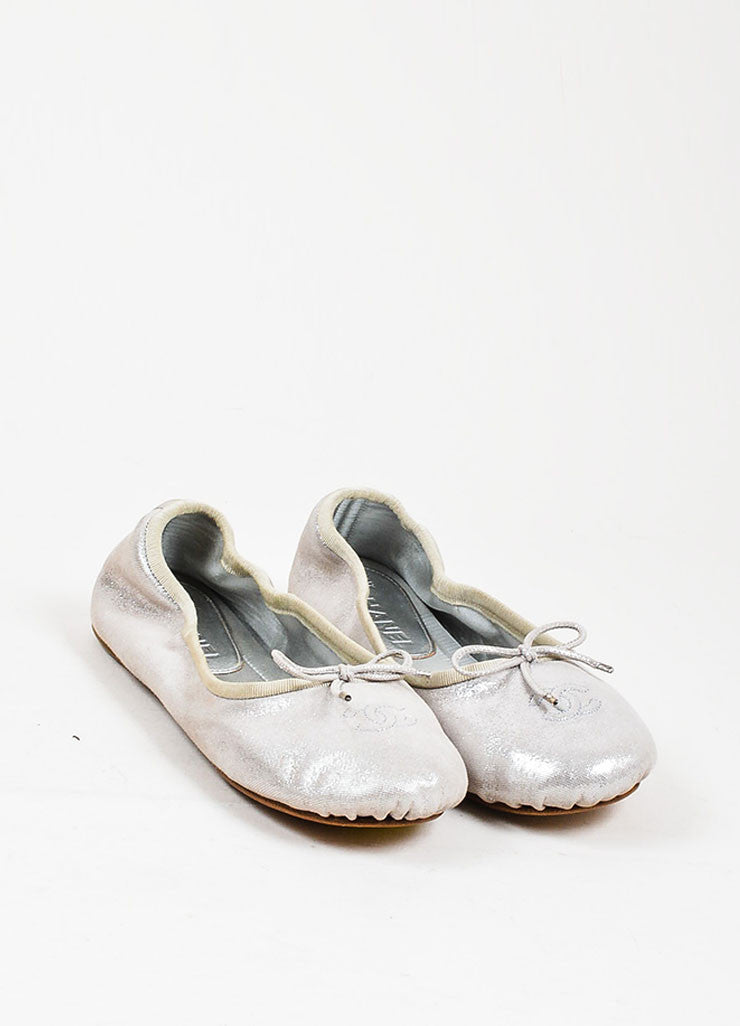 Silver Metallic Chanel Suede Leather Bow Tie 'CC' Ballerina Flats Frontview