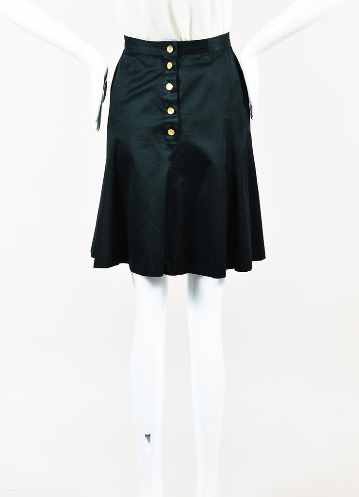 Chanel Black Gold Toned 'CC' Button Trumpet Skirt Backview