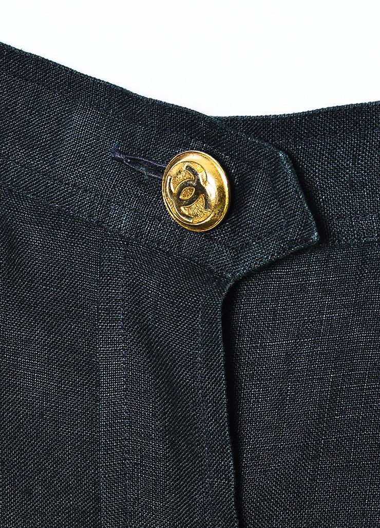 Chanel Black Linen Gold Toned 'CC' Button Down Knee Length Pencil Skirt Detail