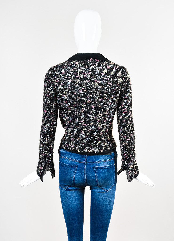 Chanel Black and Multicolor Wool Blend Tweed Silk Trim Blazer Jacket Backview