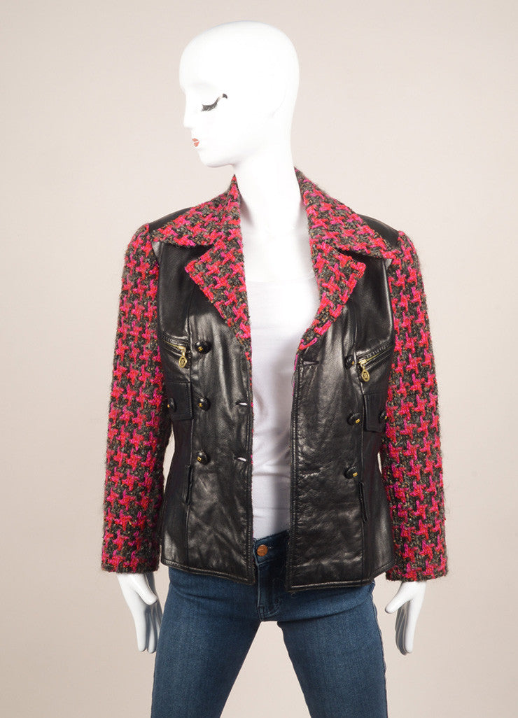 Chanel Black and Pink Leather and Tweed Double Breasted Jacket Frontview