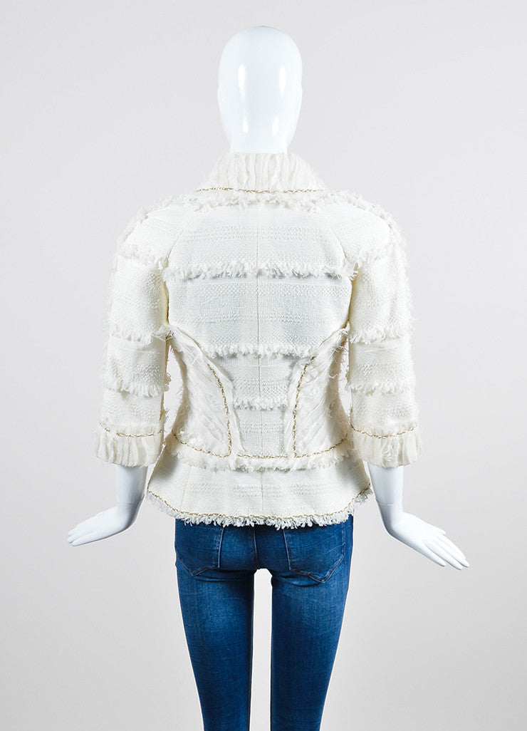 Cream and Gold Chanel Woven Knit Chain Trim Fringe Crop Sleeve Blazer Backview