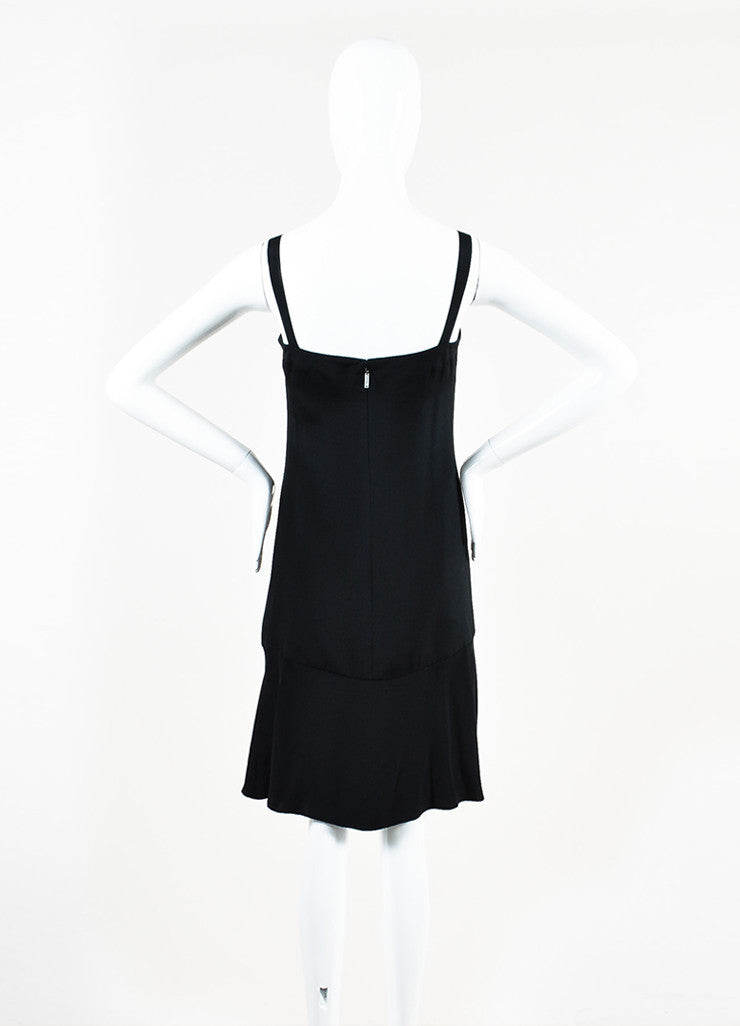 Chanel Black Silk 'CC' Detail Sleeveless Flounce Hem Slip Dress Backview