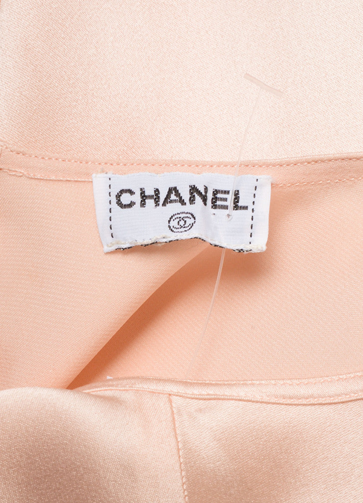 Chanel Pink and Gold Four Leaf Clover Embellished Silk Blouse Brand