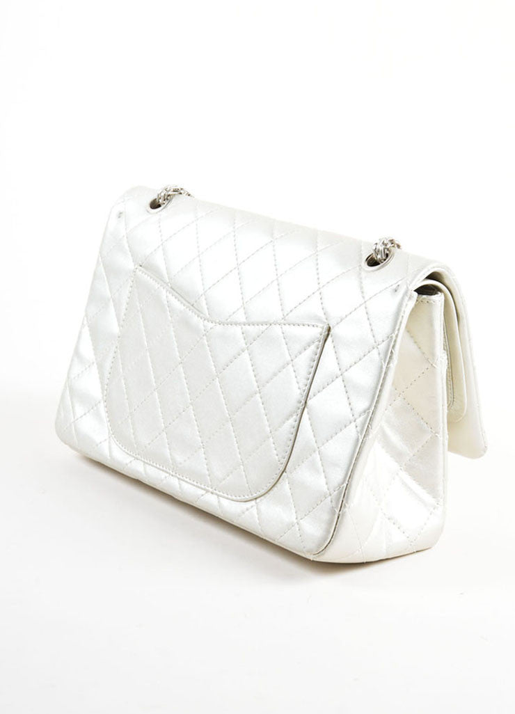 "Chanel Silver Metallic Leather Quilted ""2.55 Reissue"" Double Flap Shoulder Bag Sideview"