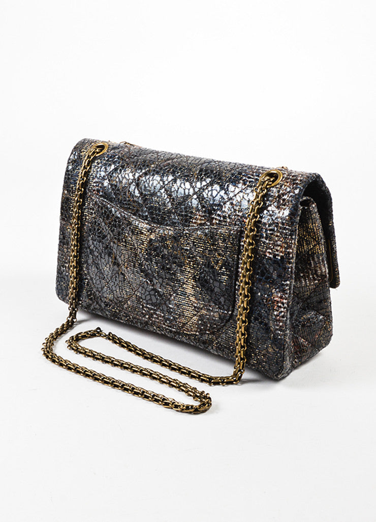 Chanel Special Edition Grey Coated Lacquered Tweed Gold Hardware Crossbody Bag Sideview