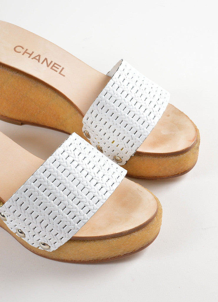 Chanel White Woven Leather Gum Sole Wedge Platform Mule Sandals Detail