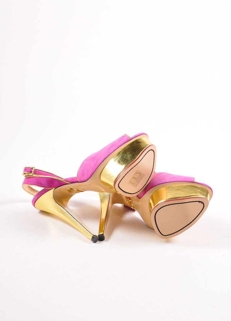 "Charlotte Olympia Fuchsia and Gold Suede ""Irina"" Peep Toe Platform Pumps Outsoles"