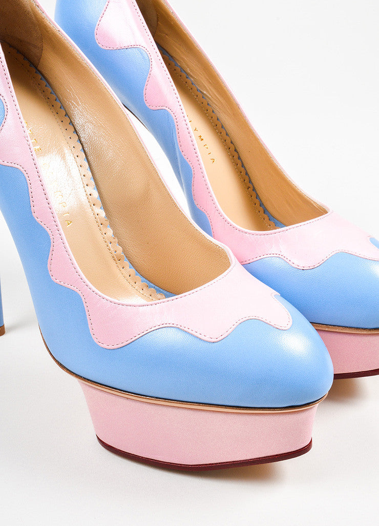 "Sky Blue and Pink Charlotte Olympia ""Josie Sundae"" Platform Stiletto Pumps Detail"