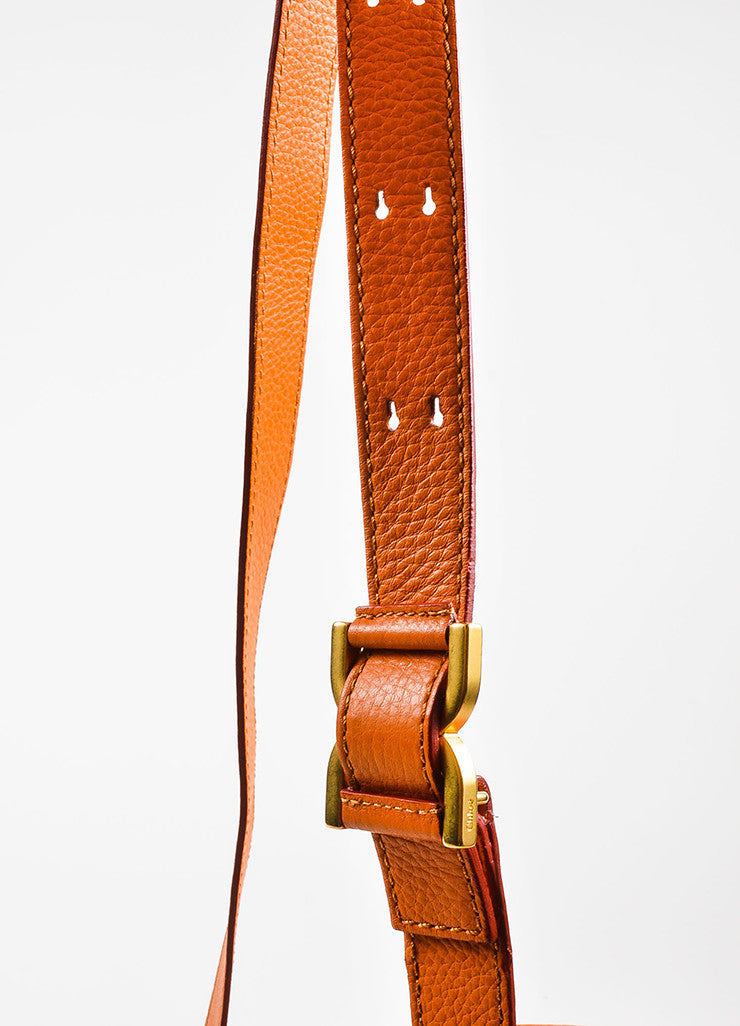 "Orange Chloe Grained Leather Saddle Crossbody ""Marcie"" Bag Detail 3"