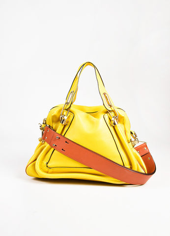 "Chloe ""Mimosa"" Yellow Leather ""Paraty"" 2 Way Bag front"
