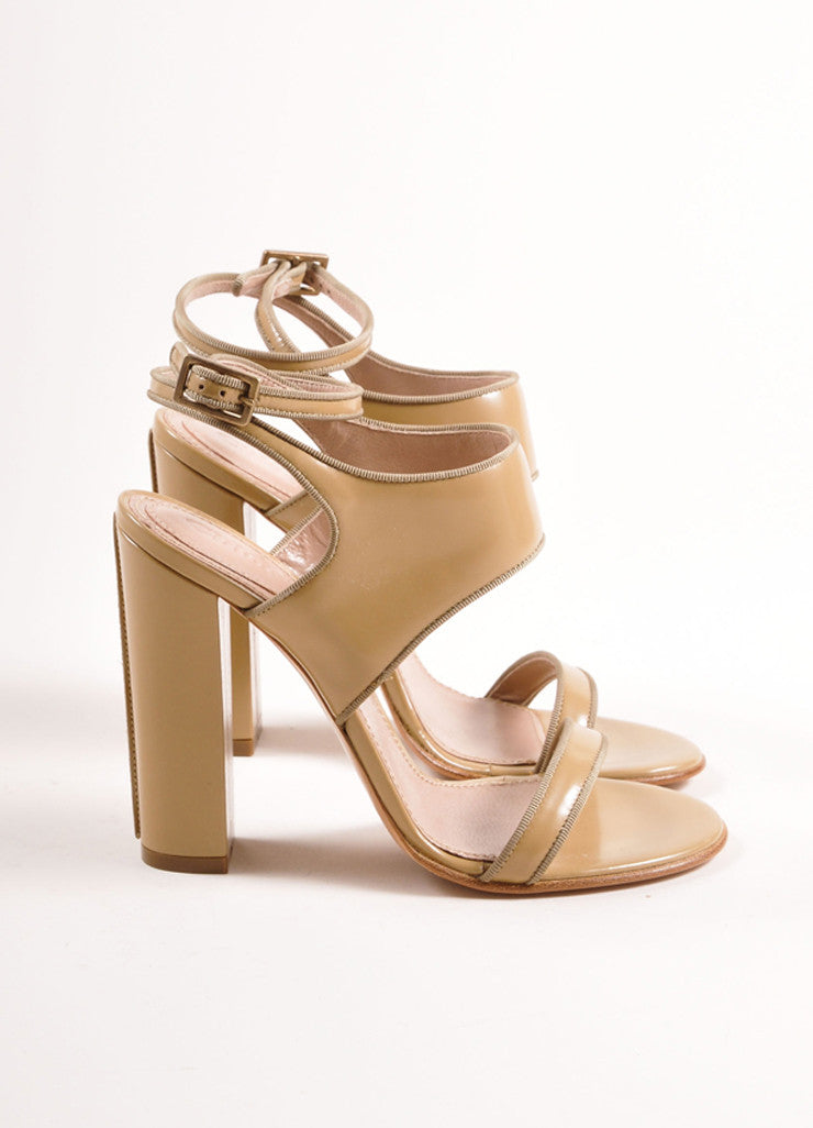 Chloe Taupe Patent Leather Chunky Heel Sandals Sideview