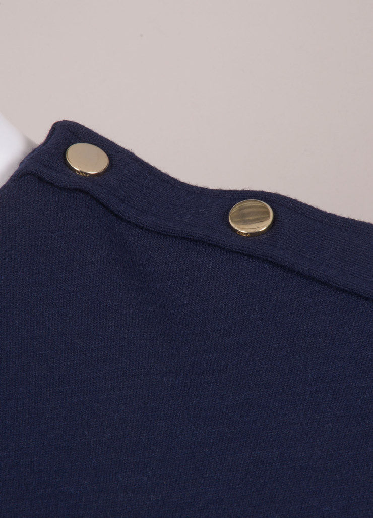 Chloe New With Tags Navy Wool Blend Long Sleeve Dress Detail
