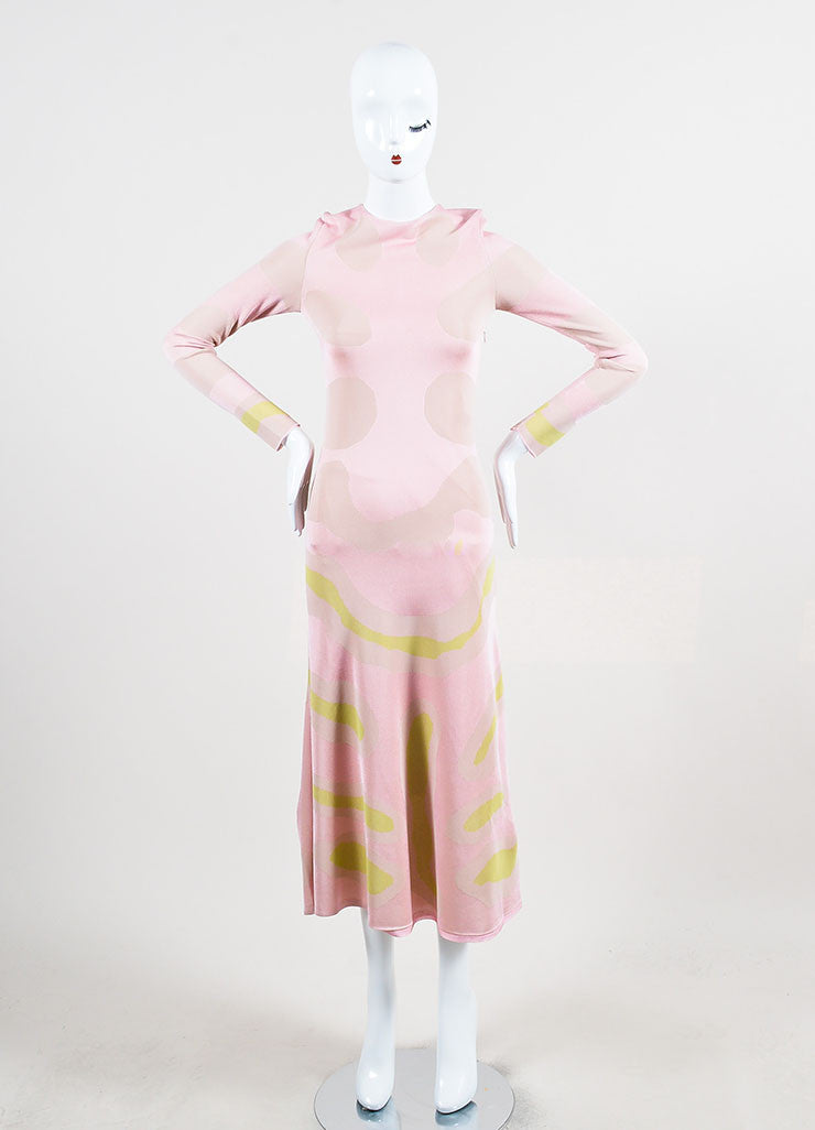 Christian Dior Pink and Cream Jersey Patterned Long Sleeve Maxi Dress Frontview