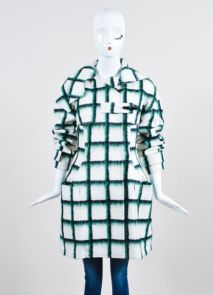 White and Green Christian Dior Wool and Mohair Checked Print Toggle Coat Frontview 2