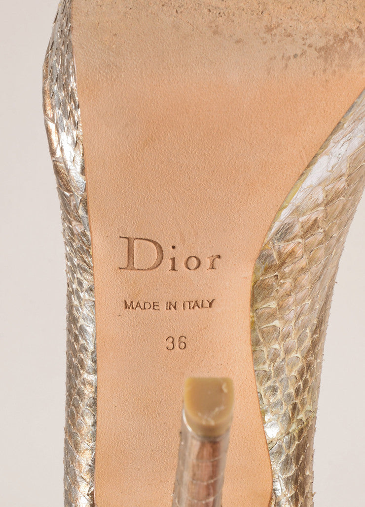 Christian Dior Silver and Gold Metallic Snakeskin Peep Toe Pumps Brand