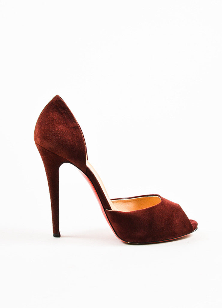 Christian Louboutin Oxblood Red Suede Peep Toe D'Orsay Pumps Sideview