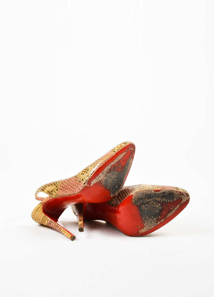 "Metallic Multicolor Python Christian Louboutin ""O My Sling"" Pumps Outsoles"