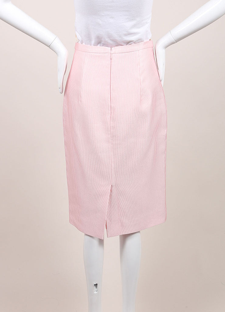 Christopher Kane New With Tags Pink Cotton Blend Ribbed Pencil Skirt Backview