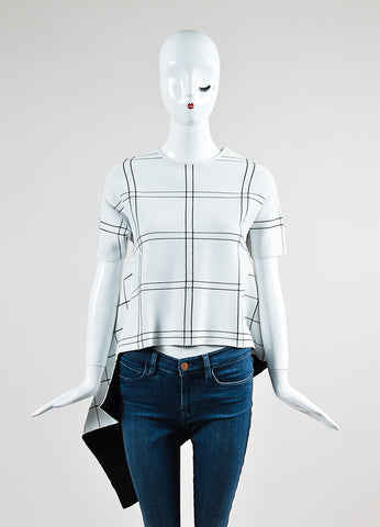 Derek Lam White and Black Thick Knit Windowpane Asymmetrical Short Sleeve Tunic Top Frontview