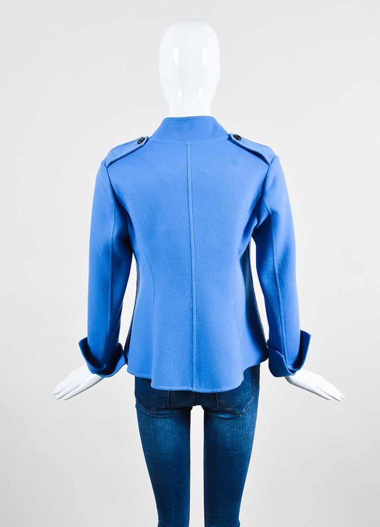 """Lake"" Blue Derek Lam Wool and Cashmere Double Breasted Short Coat Backview"