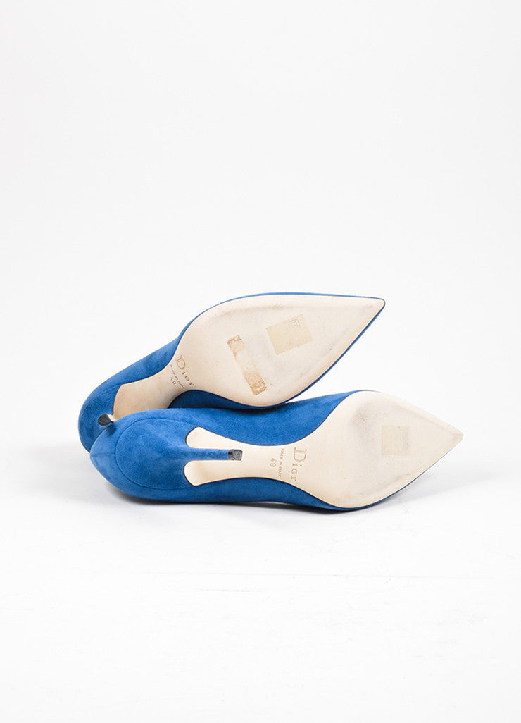"Blue ""Petrole"" Christian Dior Suede Leather Pointed Toe Pumps Outsoles"