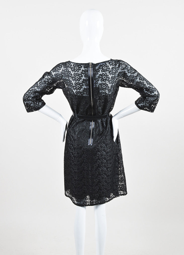 Dolce & Gabbana Black Floral Embroidered Lace Belted Shift Dress Backview