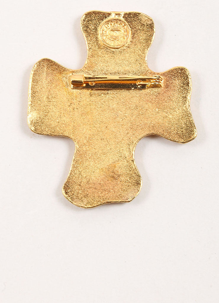 Edouard Rambaud Gold Toned Studded Cross Brooch Backview