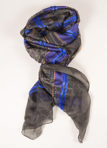 Etro Blue, Grey, and Orange Embroidered and Printed Silk Blend Scarf Frontview