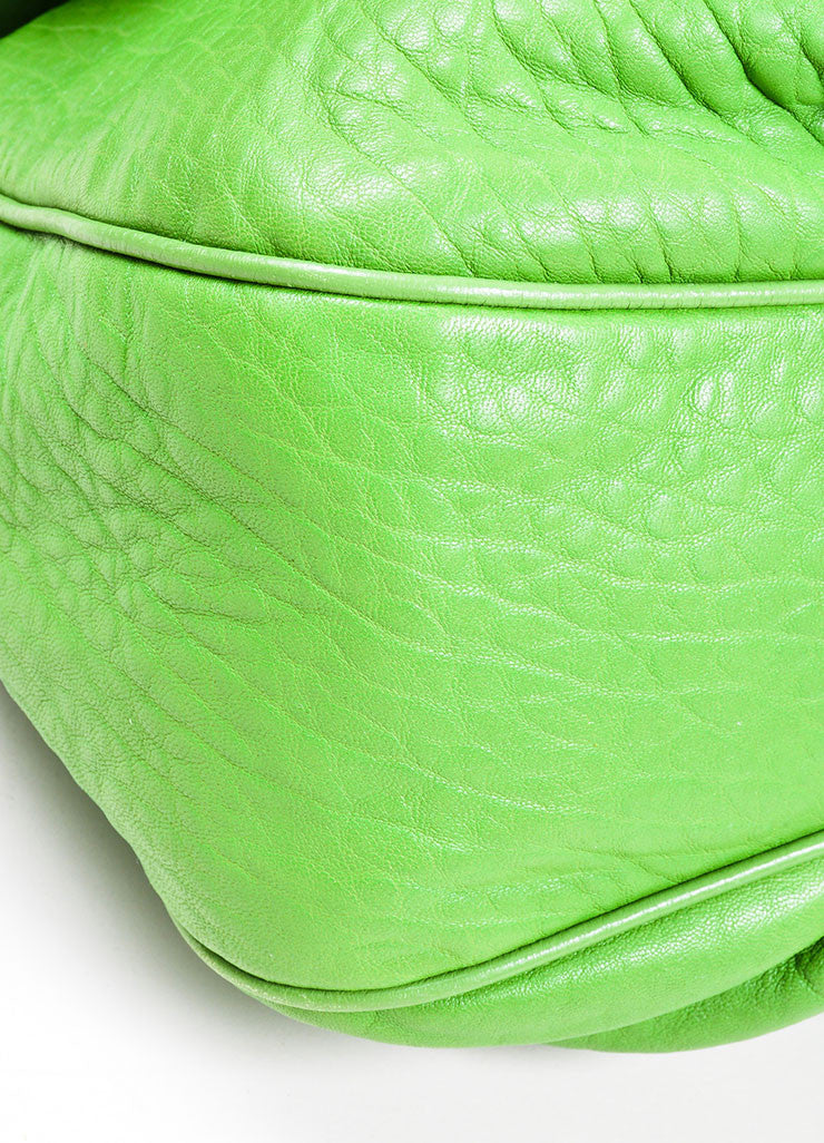 "Kelly Green Fendi Pebbled Leather Chain Strap ""Mia Agnello"" Flap Bag Detail"