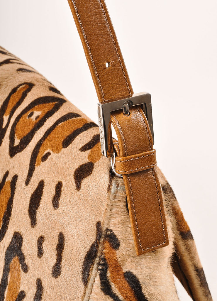 "Fendi Tan and Brown Leopard Print Pony Hair ""FF"" Flap Shoulder Bag Detail 2"