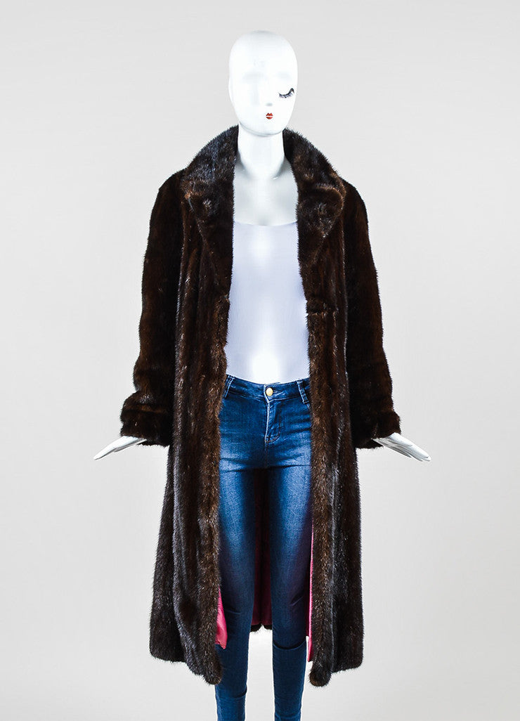 Dark Brown Galanos Fur Belted Long Overcoat Frontview