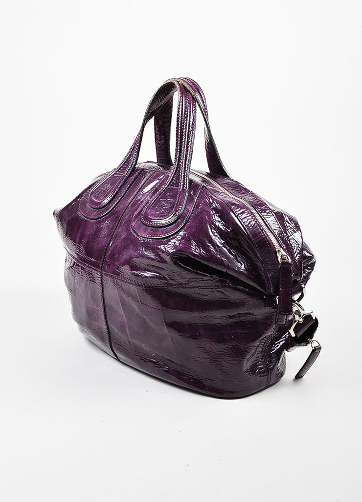 "Givenchy Eggplant Crinkled Patent Leather ""Nightingale"" Satchel Bag Sideview"