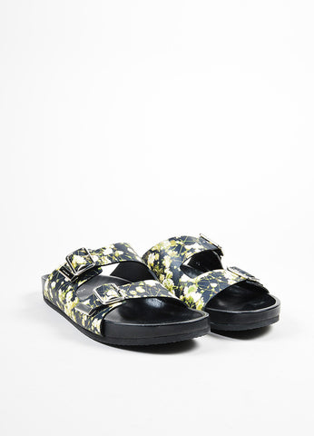 Givenchy Black Leather Baby's Breath Birkenstock Slide Sandals Frontview