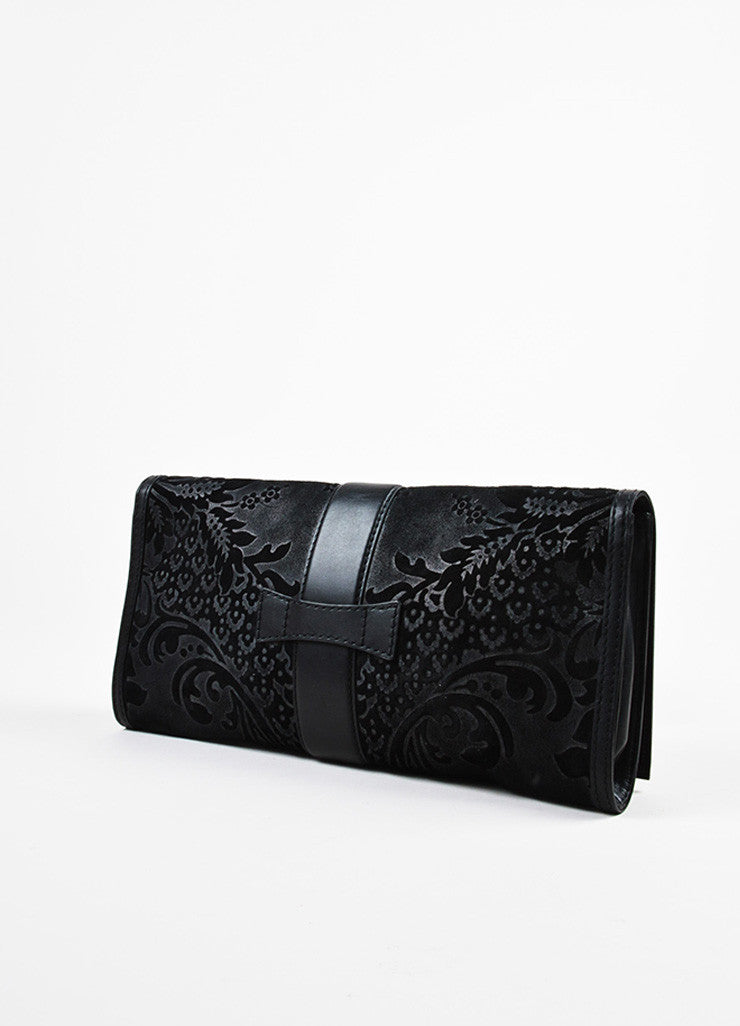 "Gucci Black Suede Leather Distressed Brocade ""Soft Stirrup"" Clutch Bag Sideview"