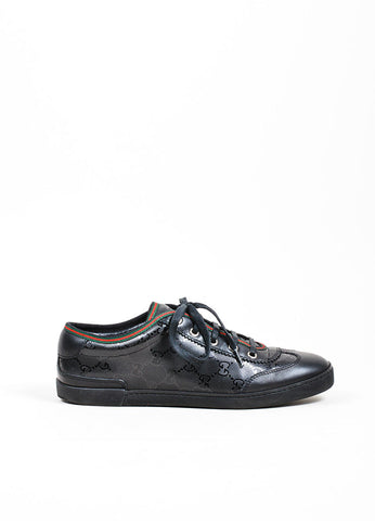 Black Gucci Monogram Leather Lace Up Low Top Sneakers Side