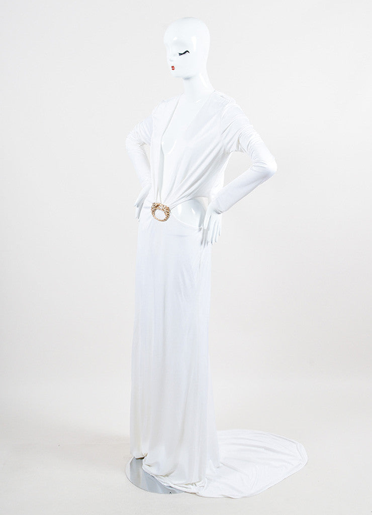 Gucci Cream Jersey Open Back Gold Toned Dragon Long Sleeve Gown Sideview