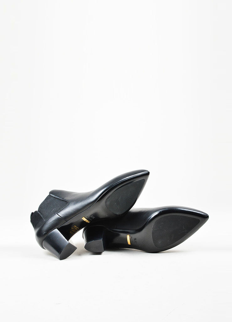 "Black Gucci Leather Pointed Toe Stacked Heel Ankle ""Helene"" Boots Sole"