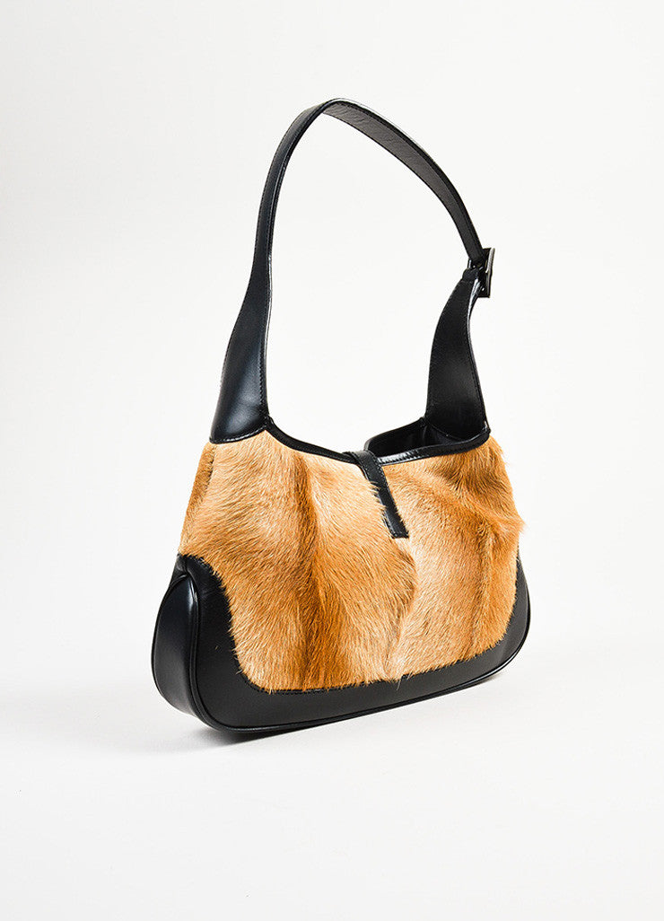 "Gucci Black and Tan Pony Hair and Leather ""Jackie O"" Hobo Shoulder Bag Sideview"