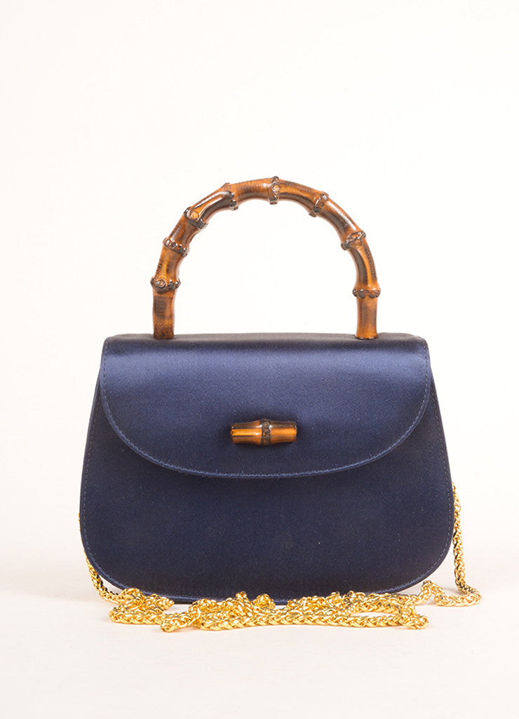 Gucci Navy and Gold Toned Satin Bamboo Handle Chain Strap Evening Bag Frontview