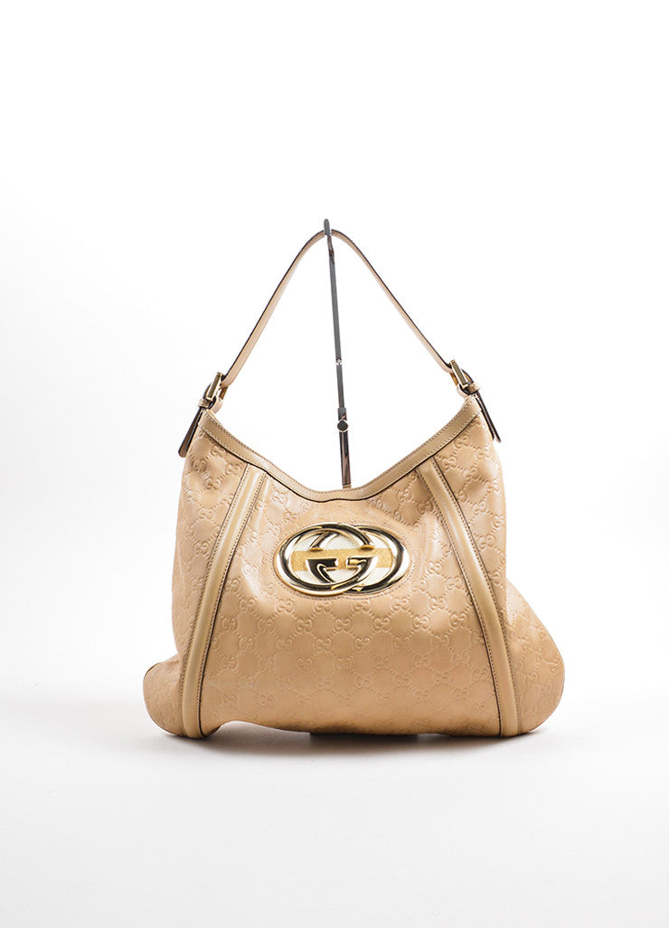Gucci Tan Leather Embossed 'GG' Logo Hobo Bag Frontview