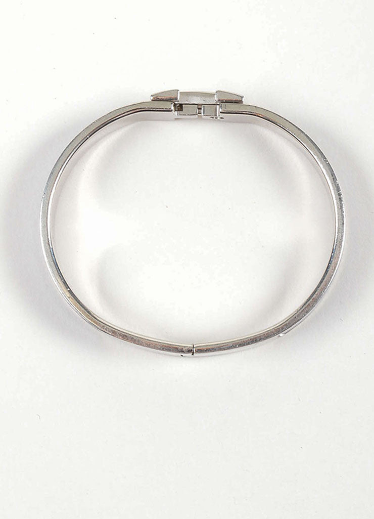 "Silver Toned and Purple Hermes Enamel ""Clic H PM"" Hinged Narrow Bangle Bracelet Topview"