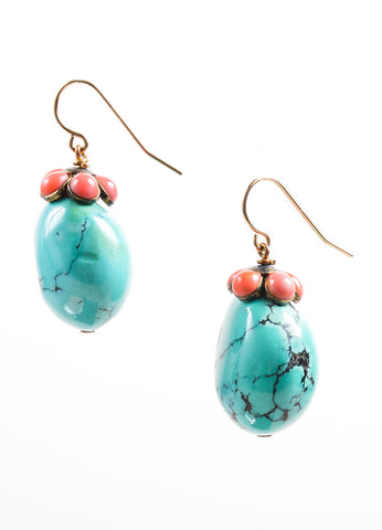 Irene Neuwirth Turquoise Blue, Coral Pink, and 14K Gold Stone Embellished Earrings Frontview