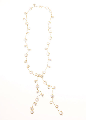 Jarin Gold Toned Rhinestone Embellished Long Lariat Tie Necklace Frontview