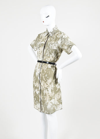 Army Green and Cream Jason Wu Silk Chiffon Belted Short Sleeve Shirt Dress Sideview
